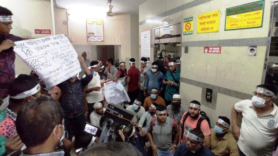 Migrant workers fasting unto death for RT-PCR lab at Dhaka airport